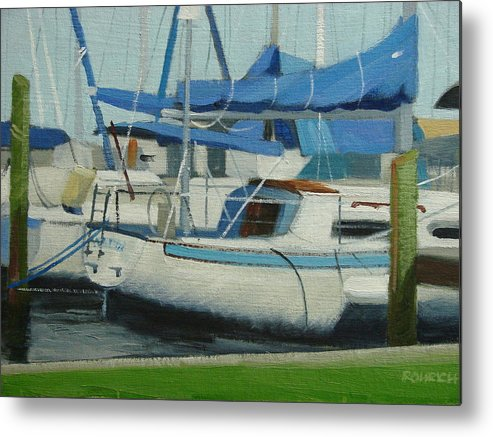 Boats  Marinas Metal Print featuring the painting Marina No 5 by Robert Rohrich