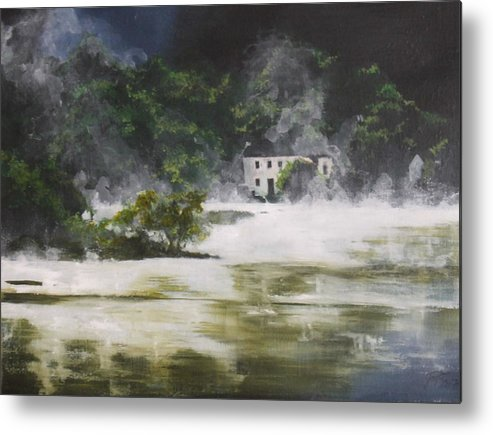 Landscape Metal Print featuring the painting Mist On Derwent Water by Jane Simpson