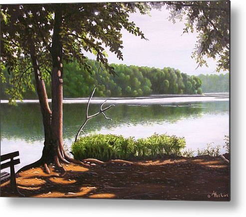 Landscaoes Metal Print featuring the painting Morning At City Lake Park by Larry Hoskins