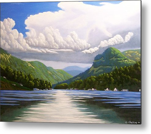 Landscapes Metal Print featuring the painting Off The Boat by Larry Hoskins