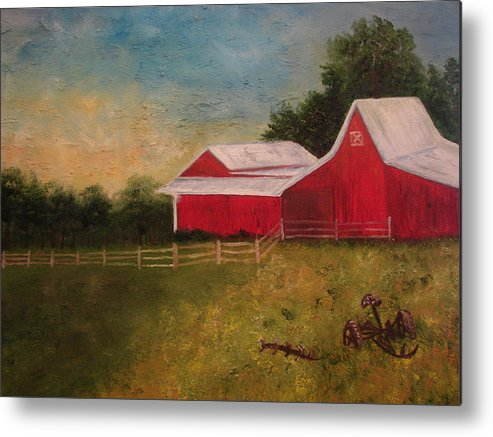 Landscape Metal Print featuring the painting Old Big Red by Shiana Canatella
