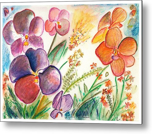 Orchids Metal Print featuring the painting Orchid No. 12 by Julie Richman