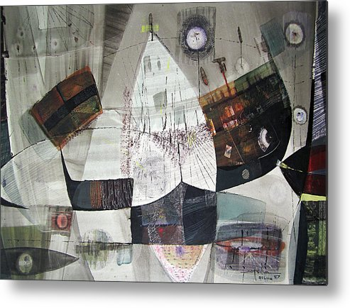 Oil Abstract Metal Print featuring the painting Os1957bo007 Abstract Landscape Of Potosi Bolivia 22 X 30.6 by Alfredo Da Silva