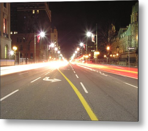 Street Metal Print featuring the photograph Ottawa Street At Night by Richard Mitchell