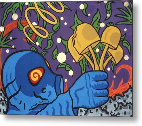 Psychedelic Metal Print featuring the painting Pow by Pierre Davis-Dutreix