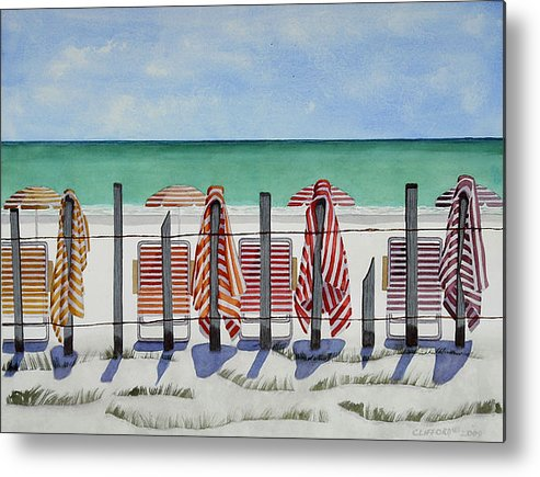 Beach Metal Print featuring the painting Preparing For A Day At The Beach by Cory Clifford