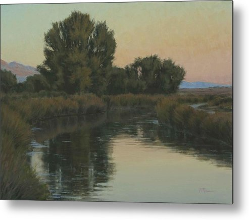 Owens River Metal Print featuring the painting Quiet Water Morning by Joe Mancuso
