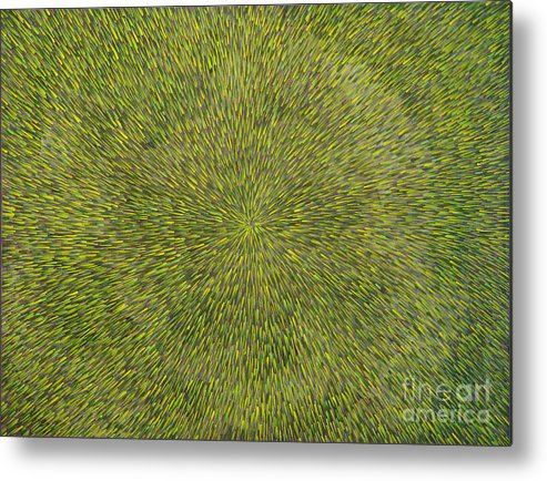 Abstract Metal Print featuring the painting Radiation With Green With Yellow by Dean Triolo