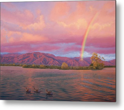 Lake Metal Print featuring the painting Rainbow At Sunset by Johanna Girard