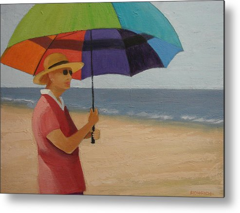 Ocean Metal Print featuring the painting Rainbow Umbrella by Robert Rohrich