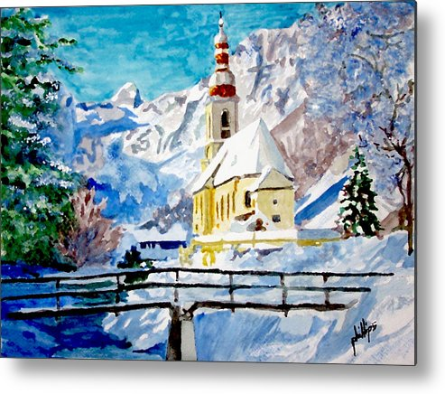 Church Metal Print featuring the painting Ramsau Parish by Jim Phillips