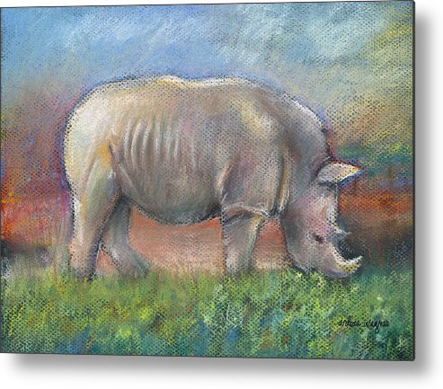 Rhino Metal Print featuring the pastel Rhino by Arline Wagner