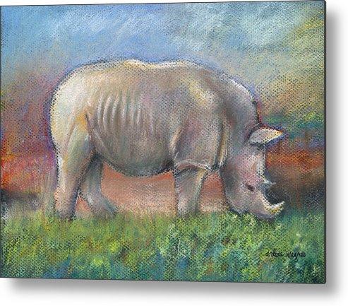 Rhino Metal Print featuring the pastel Rhino by Arline Wagner