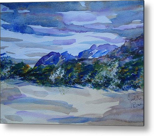 Sandia Mountains Metal Print featuring the painting Sandia Mountains by Judith Espinoza
