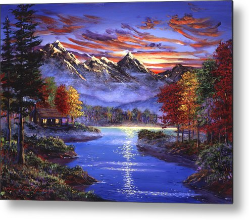 Landscape Metal Print featuring the painting Sparkling Lake by David Lloyd Glover