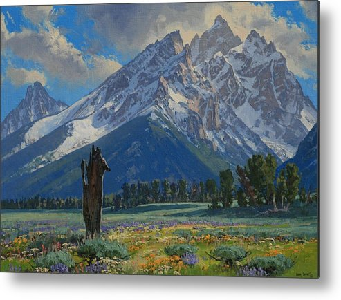 Landscape Metal Print featuring the painting Spring Again by Lanny Grant