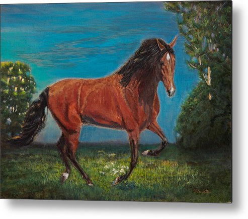 Horse Paintings Metal Print featuring the painting Sunset Dreamer by Rita Cortesi