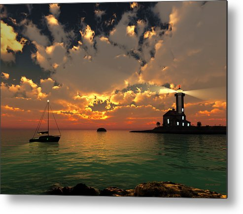 Jim Coe Metal Print featuring the digital art Sunset Lighthouse by Jim Coe