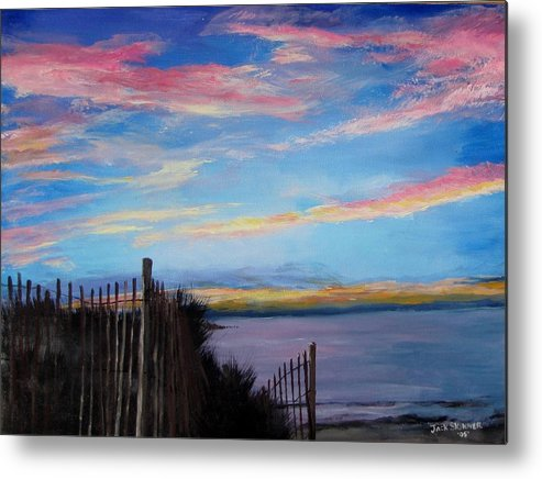 Sunset Metal Print featuring the painting Sunset On Cape Cod Bay by Jack Skinner