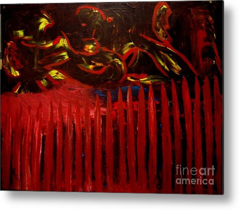 Barrier Metal Print featuring the painting The Goblins Outside by Karen L Christophersen