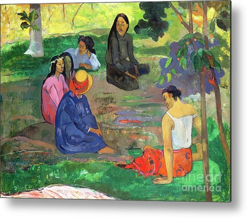 Hat; Post-impressionist; Tropical; Tahitian; Women; Sitting; Talking; Les Potins Metal Print featuring the painting The Gossipers by Paul Gauguin
