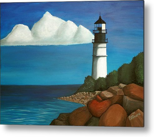 Landscape Metal Print featuring the painting The Lighthouse by Dan Leamons