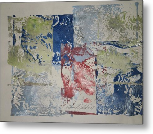 Abstract Metal Print featuring the painting The Red Barn by Edward Wolverton