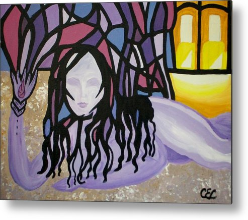 Abstract Metal Print featuring the painting The Seed by Carolyn Cable