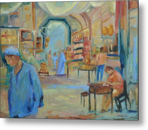 Figurative Metal Print featuring the painting The Souk by Ginger Concepcion