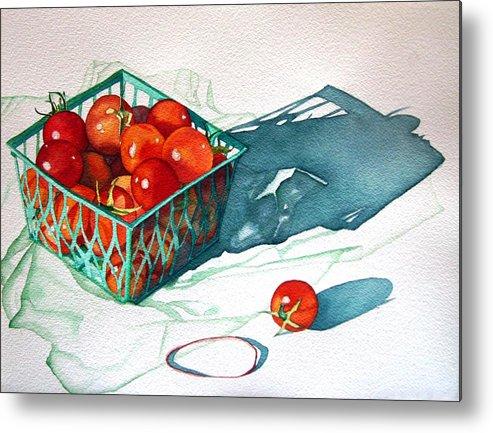 Tomatos Metal Print featuring the painting Tomato Basket by Gail Zavala