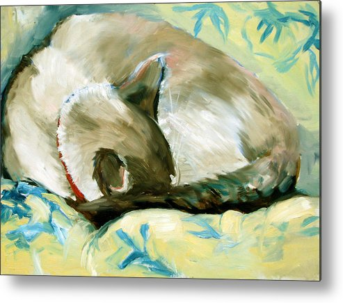 Cat Metal Print featuring the painting Turtle by Art Nomad Sandra Hansen