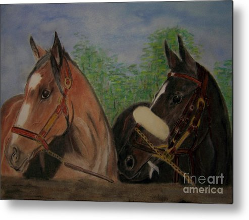 Horses Metal Print featuring the painting Two Horses by Georgie McNeese