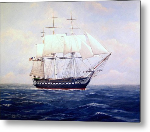 Marine Art Metal Print featuring the painting Uss Constitution by William H RaVell III