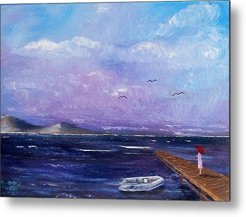 Seascape Metal Print featuring the painting Waiting On The Dock by Tony Rodriguez