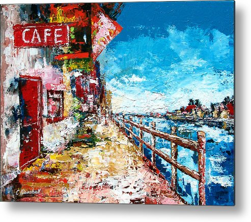 Art Metal Print featuring the painting Waterfront Cafe by Claude Marshall