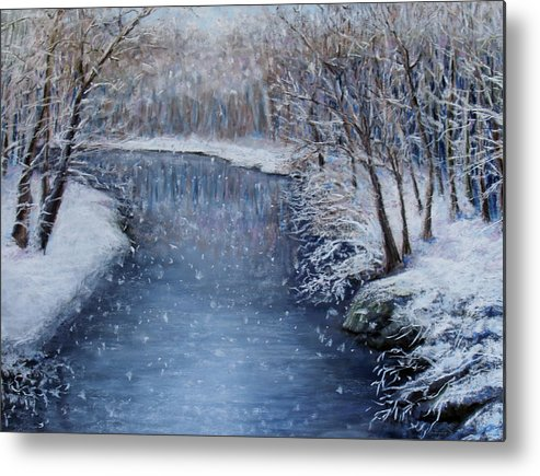 Landscape Metal Print featuring the painting Winter River by Susan Jenkins