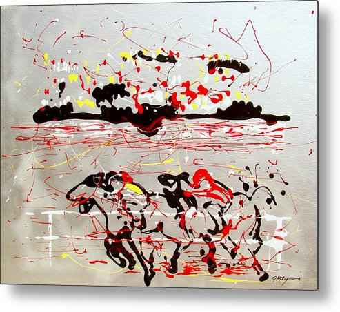 Abstract Metal Print featuring the mixed media And Down The Stretch They Come by J R Seymour
