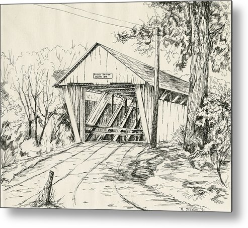 Pen And Ink Drawing Of Potter's Bridge In Noblesville Metal Print featuring the drawing Potter's Covered Bridge by Michael Scherer