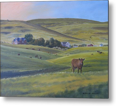 Foothills Metal Print featuring the painting Till The Cows Come Home by David Hunt