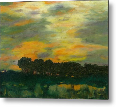 Tonalists Landscape Sky Evening Trees Reflections Metal Print featuring the painting Ode To Eaton by Paula Emery