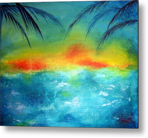 Vivid Contemporary Seascape Metal Print featuring the painting Caribbean Dreams by Shasta Miller