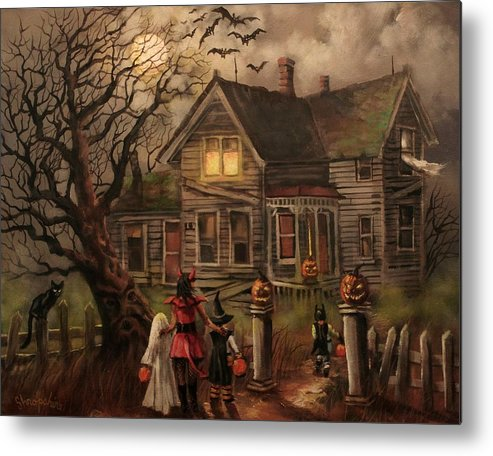 Bats Metal Print featuring the painting Halloween Dare by Tom Shropshire
