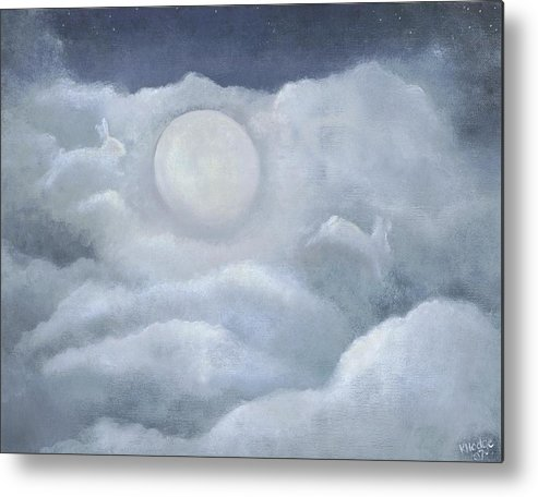 Bunny Metal Print featuring the painting Moonlight Hop by Kimberly Hodge