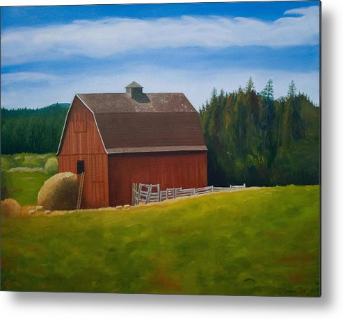 Landscape Metal Print featuring the painting Whidbey Island Barn by Stephen Degan