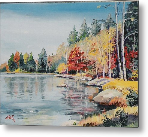 Landscape Metal Print featuring the painting Williams Lake by Barry Smith