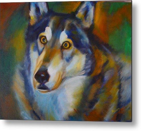 Animal Painting Metal Print featuring the painting Wolf Spirit by Kaytee Esser