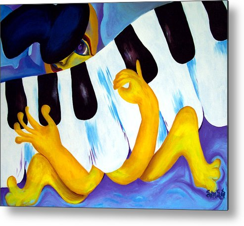 Vivid Contemporary Abstract Metal Print featuring the painting Piano Man by Shasta Miller