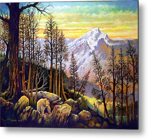 Colorado New Mexico Texas Cowboy Giclee Prints Bears Mountains Horses Southwest Landscape Metal Print featuring the painting Bear Berries And Riders by Donn Kay