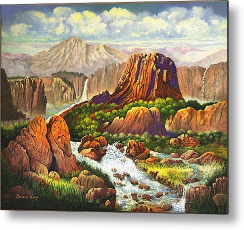 Western Art Mountains Southwest Landscapes New Mexico Waterfalls Metal Print featuring the painting Gully Washer by Donn Kay