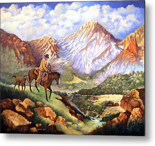 Mountains Cowboys Horses Foal Snow Colorado New Mexico Metal Print featuring the painting New Family Member by Donn Kay